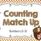 """FREEBIE: This is a simple counting game. Students look at the numeral on the acorn """"lid"""" and match it to the """"nut"""" that shows the correct number of fingers!"""