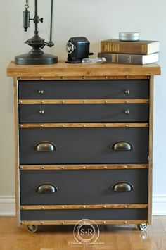 Ikea Rast Chest Hack :: Fabulously inventive use of a very cheap Ikea chest (35 bucks!) into this great looking nightstand. This would work well in an office or a den as well. By :: Serendipity Refined Blog: IKEA Rast Hack: Industrial Nightstand