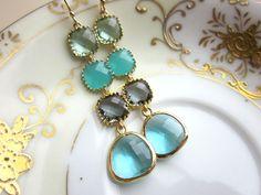 Aquamarine, Gray, Prasiolite, and Aqua Earrings in Gold