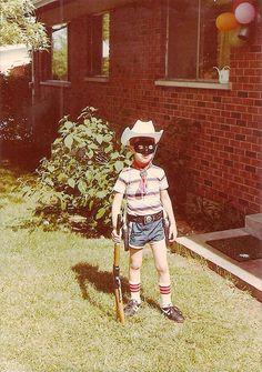 just like this: striped shirt, mask, gun, cowboy hat...Lone Ranger