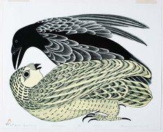kananginak pootoogook inuit art print | Birds Quarrelling (1976) Kananginak Pootoogook.