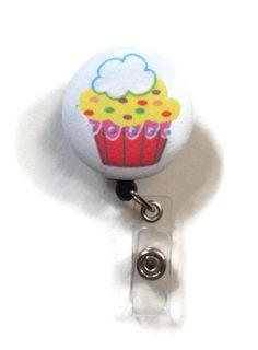 Fabric Covered Retractable Badge Reel Cupcake by MadebyMegToo, $5.00 #badgereel #idholder #badgeholder #keychain #lanyard #cupcake #baker #accessories #work #etsy