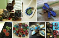 All made from zippers-Praktic Ideas Felt Crafts, Diy Crafts, Zipper Crafts, Creative Crafts, Pin Cushions, Needle Felting, Bracelet Watch, Brooch, Crafty
