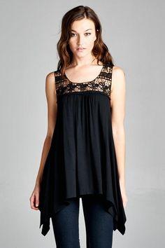 Almost Famous Asymmetrical Black Lace Tank Top