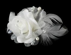 Floral Feather Bridal Hair Comb