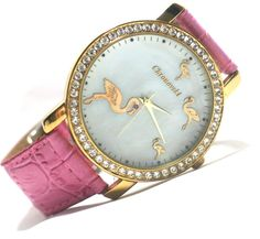 Flamingo watch...so cute gold flamingos, bling, and pink band....completely me!!!