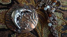 Long boho necklace Man in the Moon fine silver by HummingBirdEggs