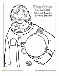 Hispanic Heritage Month Second Grade People Worksheets: Ellen Ochoa Coloring Page