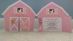 Pink Barn Birthday Invitation Barnyard by SmilingMoonBoutique