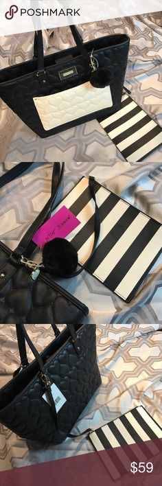 """NWT Betsey Johnson black/cream quilted large tote NWT Betsey Johnson large black/cream quilted tote bag w/detachable striped makeup pouch...also comes with detachable Pom Pom keychain...18.5""""X11""""x6.5""""... Betsey Johnson Bags Totes"""