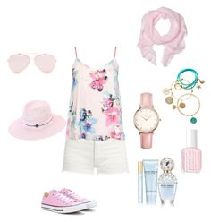 """""""Summer holiday outfit"""" by mayben1718 on Polyvore featuring Yves Saint Laurent, Dorothy Perkins, Converse, Love Quotes Scarves, nikki lissoni, Topshop, Essie, Marc Jacobs and Maison Michel"""