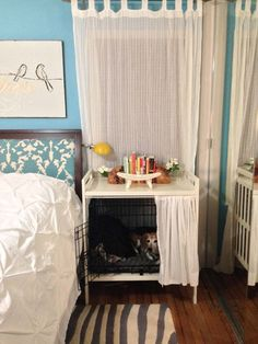 Dog Crate AND Bedside Table - IKEA Hackers Put dog crate inside of old changing table, and use a tension rod to disguise