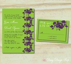 Wedding Invitation  Modern Flowers in by DaisyDesignShop on Etsy, $2.25