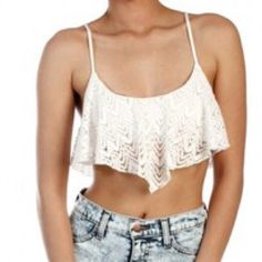White lace crop top White lace crop top, spaghetti straps, shows belly, great for the summer beach and pool side hanging out. Will post pictures of myself in it upon request. ( I'm pregnant so take caution of me in belly shirts  ) Tops Crop Tops
