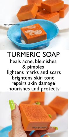 Turmeric is a well-known beauty ingredient and is used in tons of beauty products these days! Looking out for ways to use turmeric for skin care? Well, we are here is a very easy turmeric soap recipe that has skin brightening and moisturizing effects- Turmeric For Skin, Turmeric Soap, Organic Turmeric, Homemade Beauty, Diy Beauty, Beauty Hacks, Beauty Guide, Homemade Soap Recipes, Homemade Muffins
