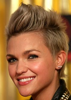 Ruby Rose, youth short hairstyle, blond short hair lifted