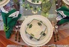 St. Patrick's Day Table Setting With Leprechaun Centerpiece | http://betweennapsontheporch.net/st-patricks-day-tablescape-with-4-leaf-clover-dishware/