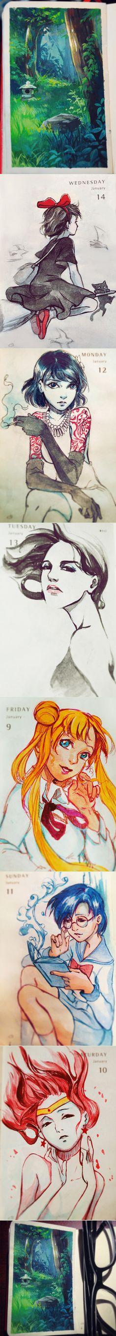 Daily Painting - week 2 by Qinni.deviantart.com on @DeviantArt