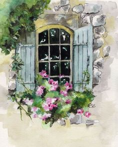 Window Painting Print from original watercolor painting - Aquarell - # Watercolor Artists, Watercolor Techniques, Painting Techniques, Watercolor Flowers, Watercolor Paintings, Watercolour Tips, Simple Watercolor, Oil Paintings, Watercolor Paper