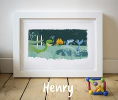 In a prehistoric time dinosaurs roamed the earth and these guys got together to spell out 'Henry'! This is the perfect gift for any new arrivals, christenings or birthdays and looks great framed on a little ones bedroom wall. #nurseryart #nameart #kidlitart #childrensbookillustration