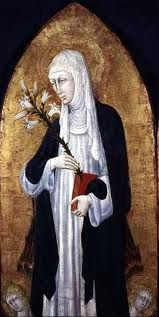 """St. Catherine of Siena """"You who are the angels' food are given to humans with burning love.  You, garment who cover all nakedness, pasture the starving with your sweetness, for you are sweet without trace of bitterness."""""""