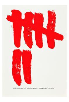 On est toujours avec le grand Saul Bass les gars… Voici une affiche conceptuelle et minimaliste des SEPT MERCENAIRES (aka THE MAGNIFICENT SEVEN - 1960). Un film de John Sturges.