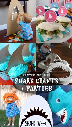 Shark Crafts And Shark Party Ideas Shark Week Crafts And Party Ideas. So many clever shark crafts, shark themed food ideas and shark games for Shark Week for shark birthday parties! Shark Week Crafts, Shark Craft, Shark Party Favors, Shark Party Decorations, Graduation Party Games, Hai, Craft Party, Party Time, Shark Fin