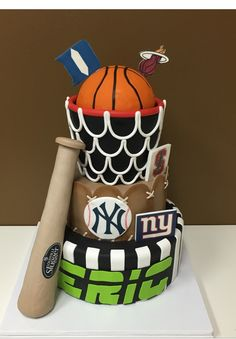 Bar Mitzvah ESPN Sports Theme cake.  Perfect for the nights theme