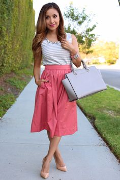 Pink skirt with a sleeveless top