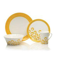 16 Piece Dinnerware Set - yellow circles. Mikasa.  I drool.
