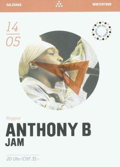 ANTHONY B - JAM - REGGAE - LIVE SALZHAUS WINTHERTHUR SWITZERLAND - ORIG. FLYER