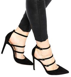 """ASOS """"PAIGE"""" Pointed High Heels in black faux suede (Gianvito Rossi Carey knockoffs)"""