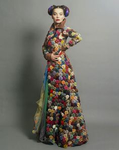 Bjork - full length dress made of quilted yo-yos. Reminds me of Seven Brides for Seven Brothers!