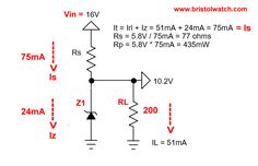 Typical zener diode circuit. Voltage Divider, Project Board, Circuits, Theory, Charts, Electric, Led, Diy Electronics, Graphics