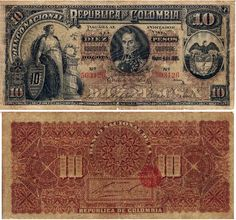 colombia old banknotes Folding Money, World Coins, People Of The World, Coin Collecting, 17th Century, Vintage World Maps, Projects, Image, Central Bank