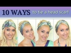 In this summer 2012 tutorial I'll show you 10 different ways to wear a headscarf. I'll demonstrate how to tie a square scarf into a turban and how to wrap it around your head as a headband. I'm using a quare scarf made of silk. How To Wear Headbands, Ways To Wear A Scarf, How To Wear Scarves, Scarf Headbands, Tie Scarves, Scarfs Tying, Head Scarf Tying, Scarf On Head, Tie A Turban