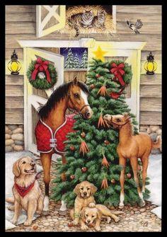031-GC Kathy Goff BIRD CAT DOG FOAL HORSE KITTEN Unused Christmas Greeting Card | eBay