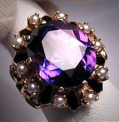 Antique Victorian Amethyst Ring Pearl Enamel 14K Gold
