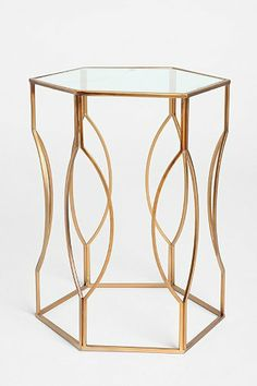 Hexagon Side Table - Urban Outfitters neat frame, glass seems like a hassle to keep clean though