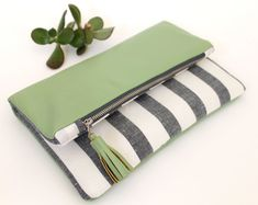 Fold over clutch, linen and leather clutch, classic navy and white stripes, light green leather clutch