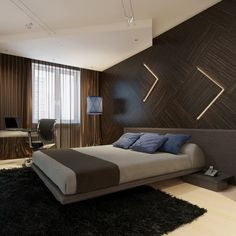 Beautiful Wooden Wall Lighting with Magnetic Flying Bed and Cool Office Chairs in Dark Modern Bedroom Themes Design Ideas
