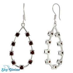 Sky Divine - 925 Sterling Silver Garnet Earring SDAER24a | Sky Divine Jewellery, $78.67