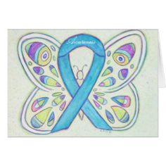 Blue Awareness Ribbon Butterfly Art Greeting Cards