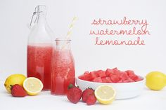 "This ""fancy"" lemonade is super refreshing! - 4 cups cubed seedless watermelon - 1/2 cup strawberries, halved - 1/4 cup fresh lemon juice - 1/4 cup artificial sweetener - 1 cup water or diet 7 up  Combine all the ingredients in a blender til smooth."