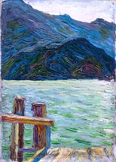 Kochelsee over the Bay, 1902 - Wassily Kandinsky What a remarkable brushstroke and palette. Wassily Kandinsky, Illustration Art, Illustrations, Russian Art, Henri Matisse, Psychedelic Art, Monet, Landscape Paintings, Landscapes
