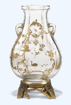A FRENCH GILT-BRONZE MOUNTED PARCEL-GILT DECORATED CUT-GLASS VASE BY#BACCARAT, PARIS, LATE 19TH CENTURY