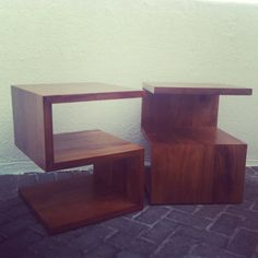 Iroko solid wood bedside tables designed specifically for clients of mine in Clifton.  2013 design - ad part of a bed room suite (bed frame pictures to follow)