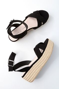 No look would be complete without the Chinese Laundry Zala Black Suede Espadrille Flatform Sandals on your feet! Soft faux suede covers crisscrossing toe straps, paired with a wrapping, adjustable ankle strap (and gold buckle). Cute Sandals, Cute Shoes, Me Too Shoes, Ankle Strap Heels, Ankle Straps, Sock Shoes, Shoe Boots, Wedge Shoes, Shoes Heels