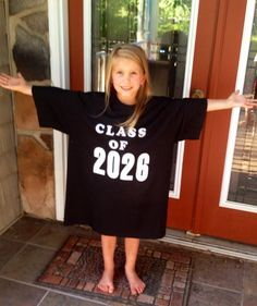 Kindergarten idea! Take a pic every year in graduation tshirt on the first day of school and watch how they grow until senior year!