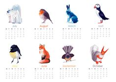 2014 Calendar, Geometric illustration, Bird and animal prints, Original illustrations on Etsy, $25.00